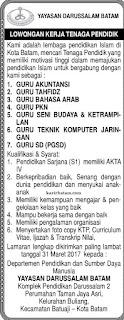 Lowongan Kerja Yayasan Darussalam Batam (Ditutup 31 Maret 2017)