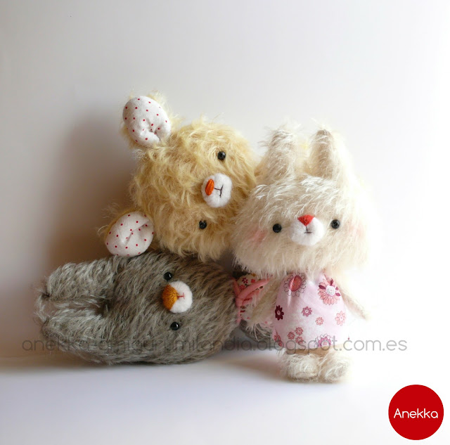 stuffed animals, plushies, mohair handmade