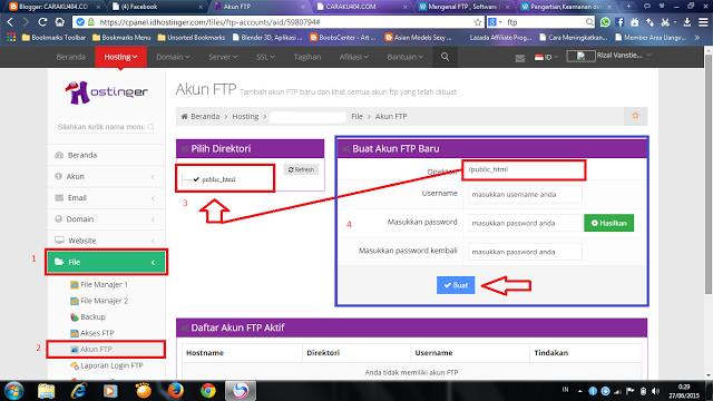 Cara membuat akun ftp disebuah hosting ataupun pada Cpanel