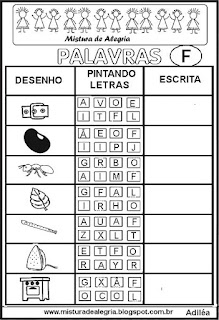 Sequência alfabética alfabetização letra F