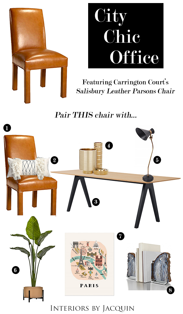 Salisbury Leather Parsons Chair   2. Hand Painted Moroccan Pillow   3.  Horne Scholar Table   4. Cog Desk Tidy In Gold   5. Yuda Table Lamp   6.