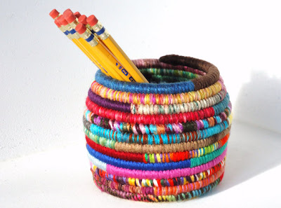 colorful pencil cup made from yarn