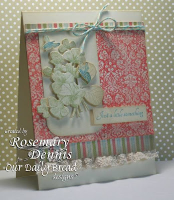 "Our Daily Bread designs  ""Brocade Background"", ""Simple Things"", ""Clover Die"",  Designer Rosemary Dennis"