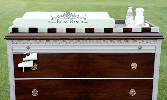 Gentleman's Dresser Converted to Baby Changer, Bliss-Ranch.com