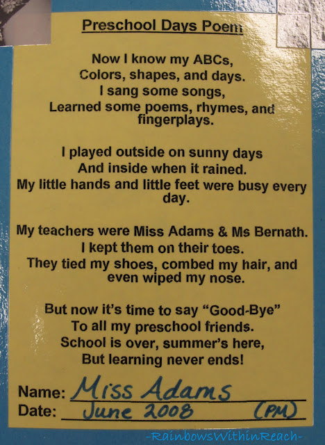 photo of: School's over Poem, Rhyme for end of the School year
