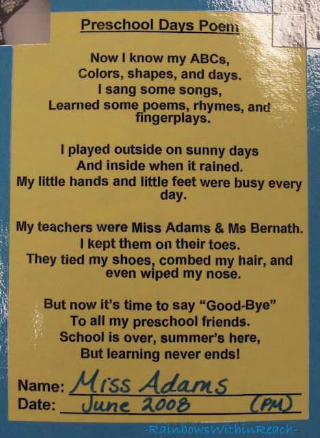 Preschool Goodbye Poems 3