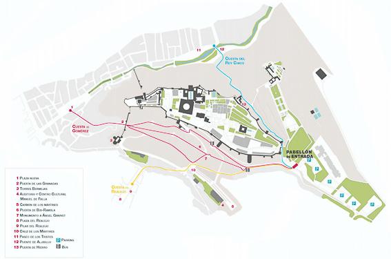 Mapa acceso a la Alhambra de Granada
