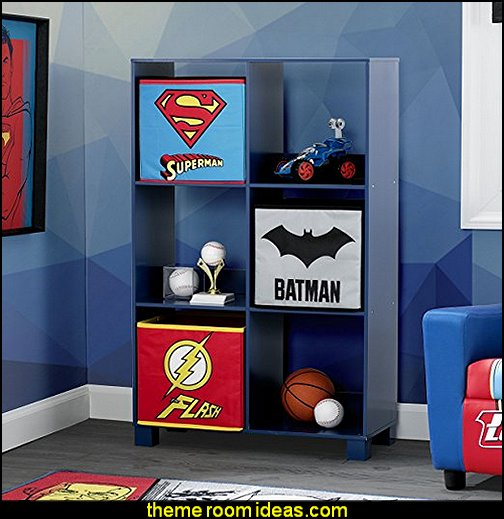 DC Comics Justice League Deluxe 6 Cubby Deluxe Storage Unit  Superhero bedroom ideas - Superhero themed bedrooms - Superhero room decor - superhero bedroom decorating ideas - Decorating ideas Avengers rooms - superhero wall murals - marvel bedroom ideas - Superhero Bedroom Ideas for Girls - Bat girl bedrooms - Wonder woman decor - vintage superhero room decor -  Comic Book bedding - DC Comics Justice League bedrooms - Superheroes bedroom ideas