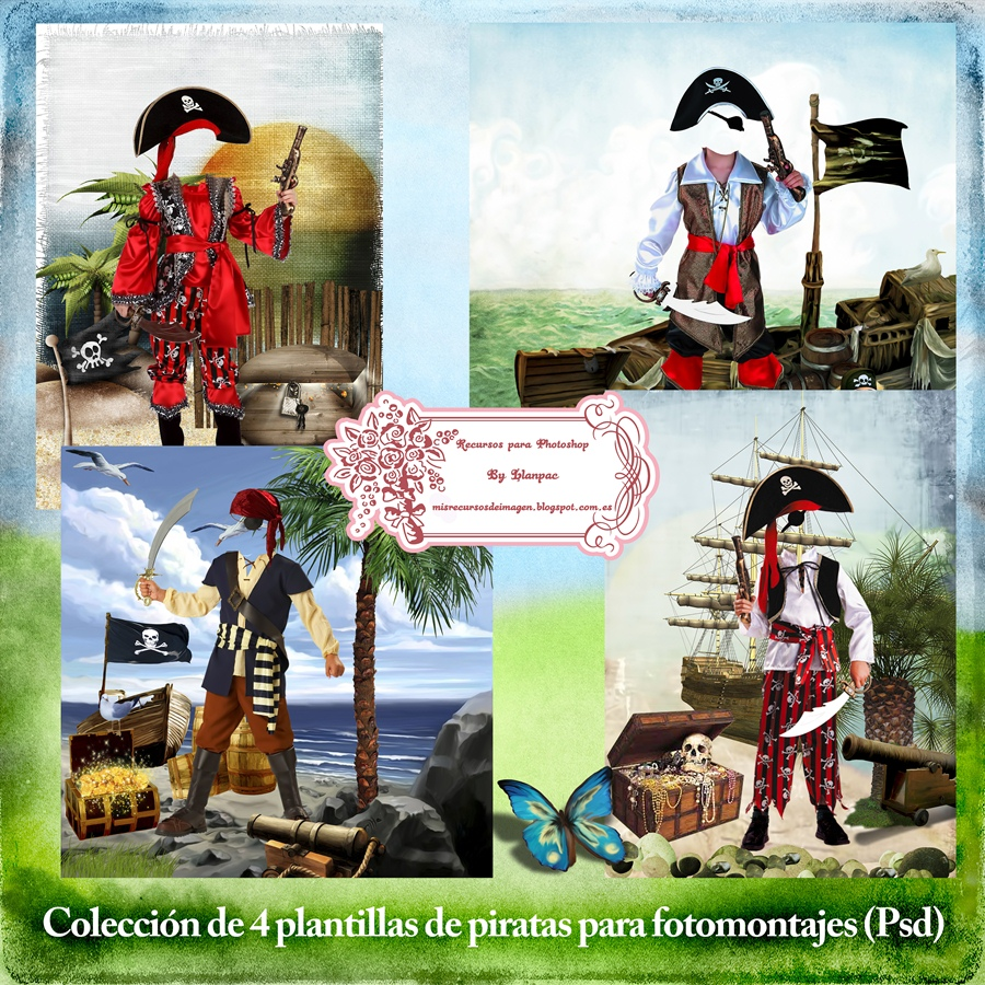 Recursos Photoshop Llanpac: Colección de 4 plantillas de piratas ...