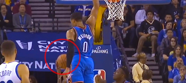 Russell Westbrook with the NASTY Block on Kevin Durant! (VIDEO)