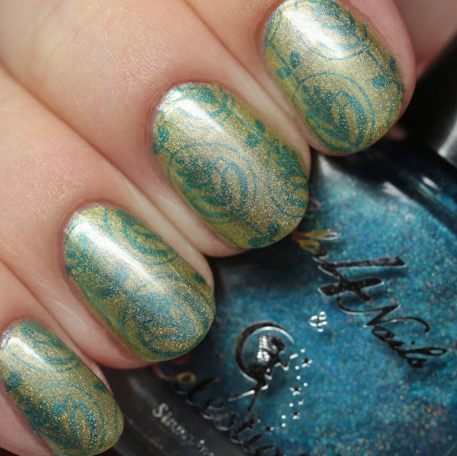 Celestial Cosmetics Azure stamped over Celestial Cosmetics Zinnia using MoYou LondonFlower Power Collection - 02 plate