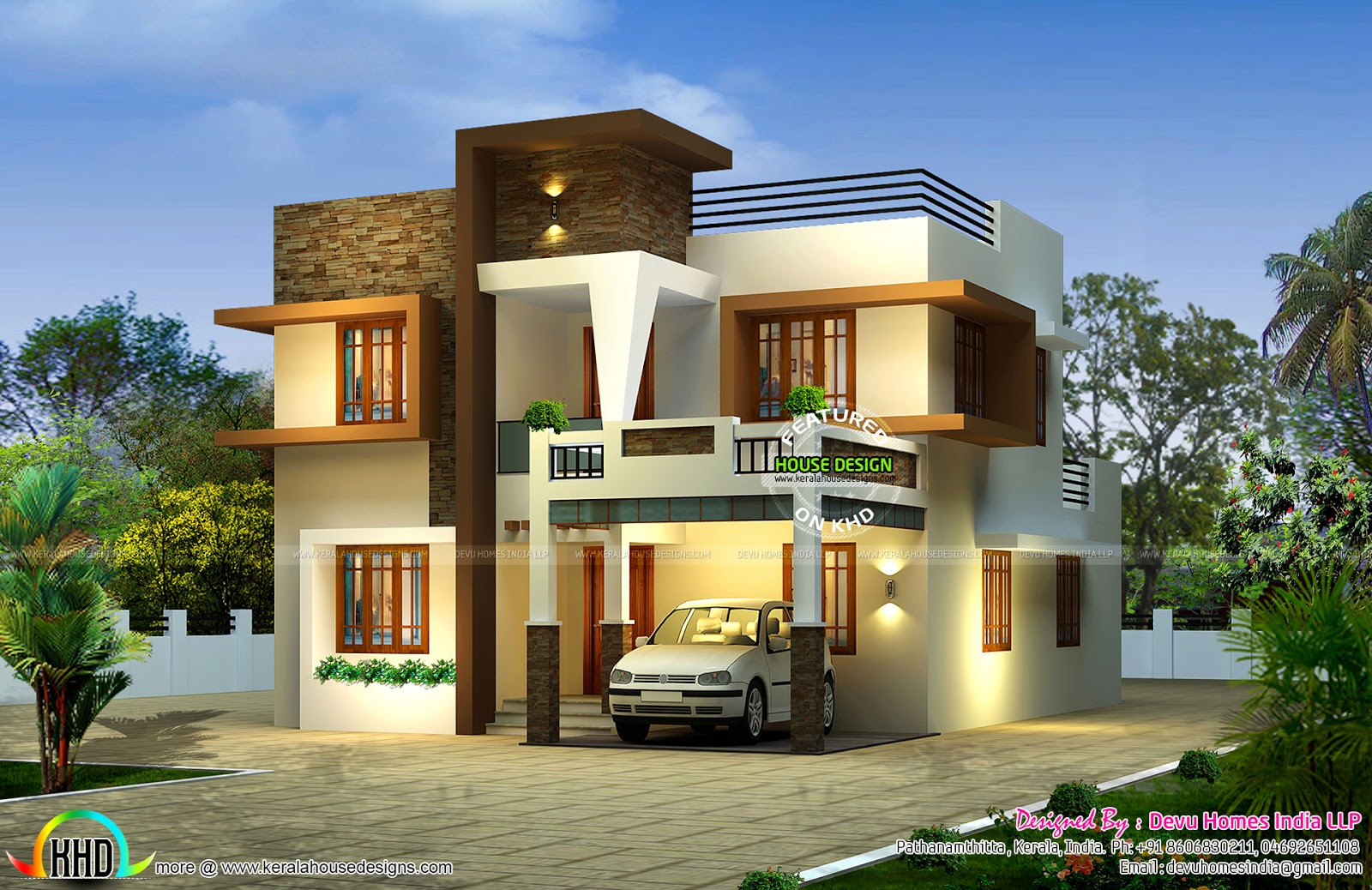 Contemporary east facing house plan kerala home design for Modern indian house plans