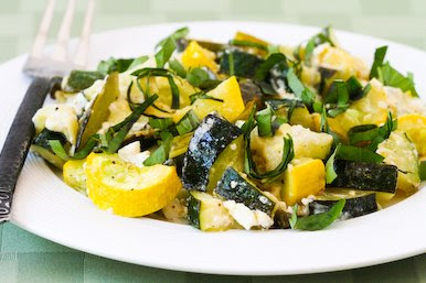 Roasted Summer Squash with Garlic, Feta Cheese, and Basil [found on KalynsKitchen.com]