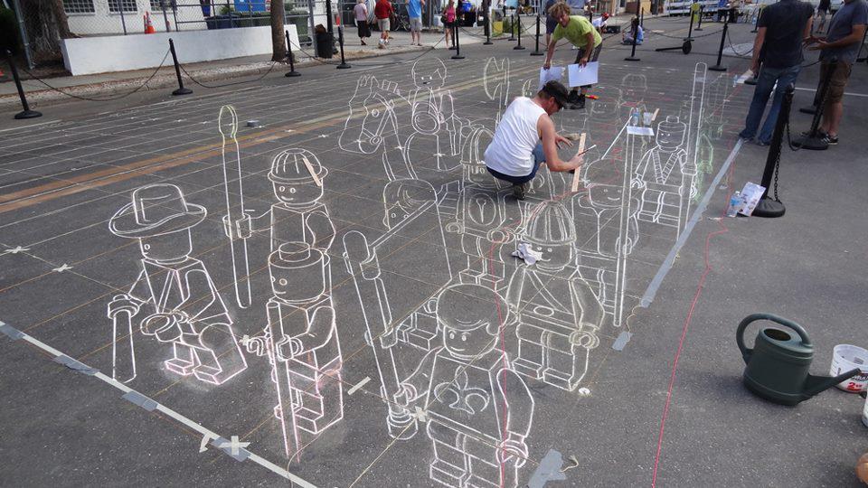 Street Art on Sarasota Chalk Festival - sidewalk art