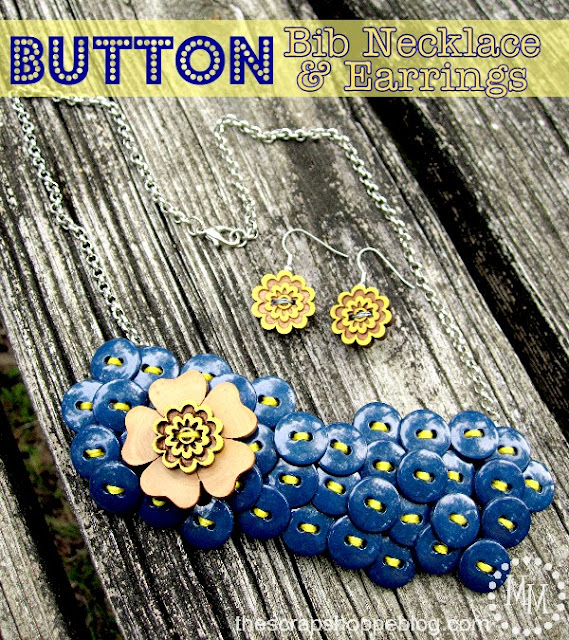 Button bib necklace and earrings tutorial