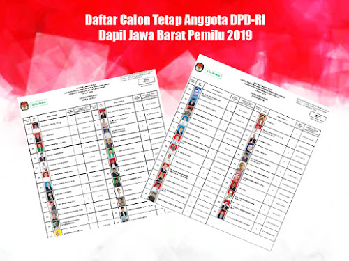 DCT Anggota DPD-RI Jabar Pemilu 2019