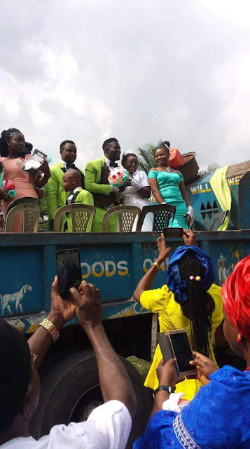 Photos: Couple ride tipper truck to their wedding venue in Umudike, Abia State