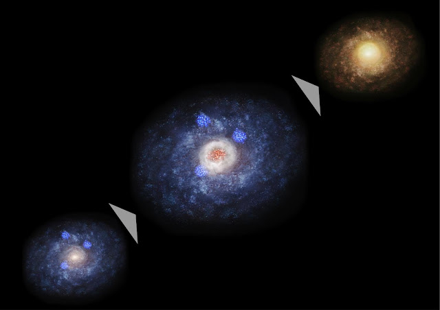 Explosive birth of stars swells galactic cores