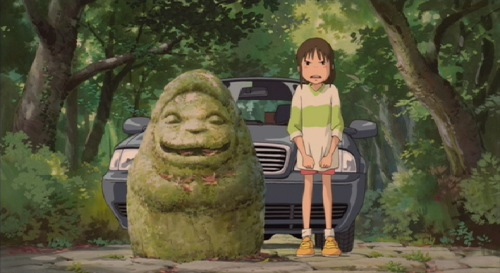 Chihiro in the road in Spirited Away 2001 animatedfilmreviews.filminspector.com