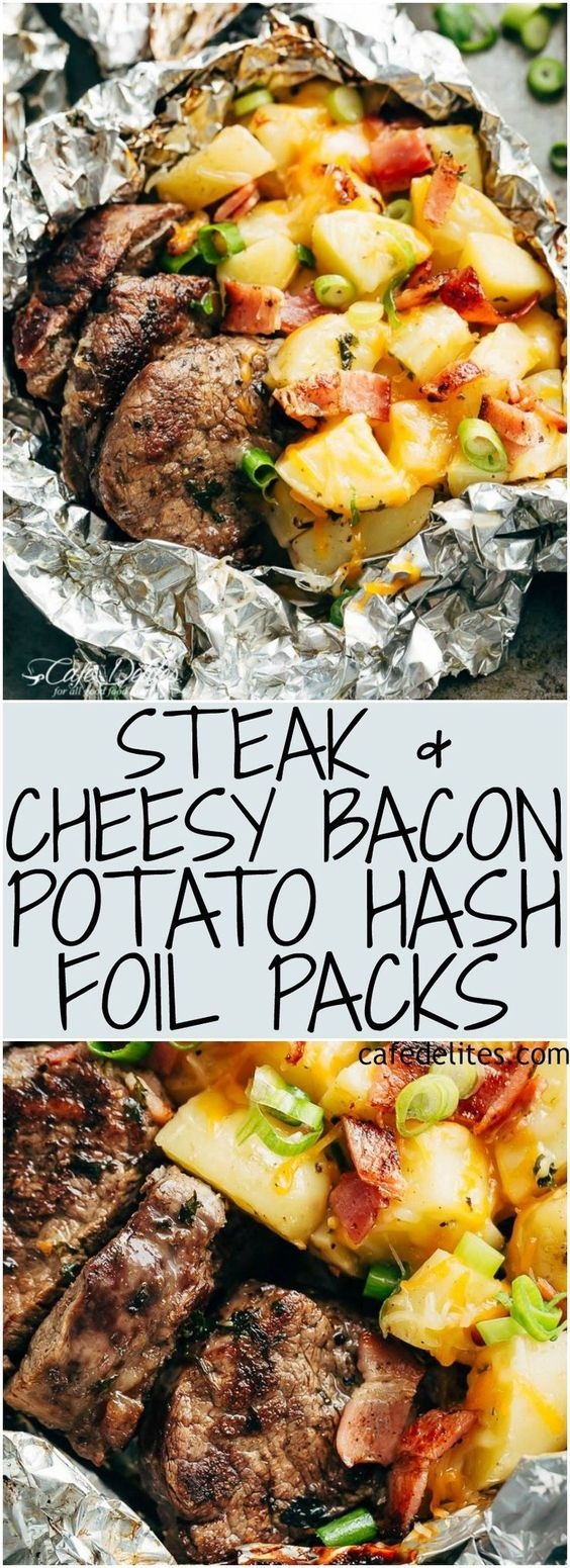 Garlic Steak & Cheesy Bacon Potato Hash Foil Packs
