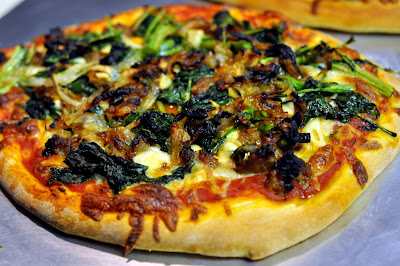 Pizza with Spicy Italian Sausage, Broccoli Rabe, and Caramelized Onions | Taste As You Go