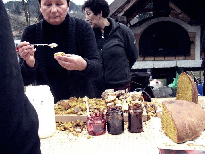 brick oven bread for sale outside in croatia