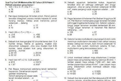 Contoh Soal Matematika untuk TryOut Ujian Nasional Kelas 6 SD
