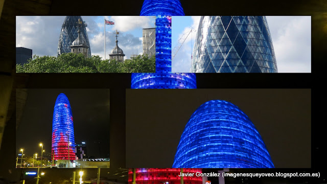 Collage de las torres Agbar y 30 Sy Mary Axe