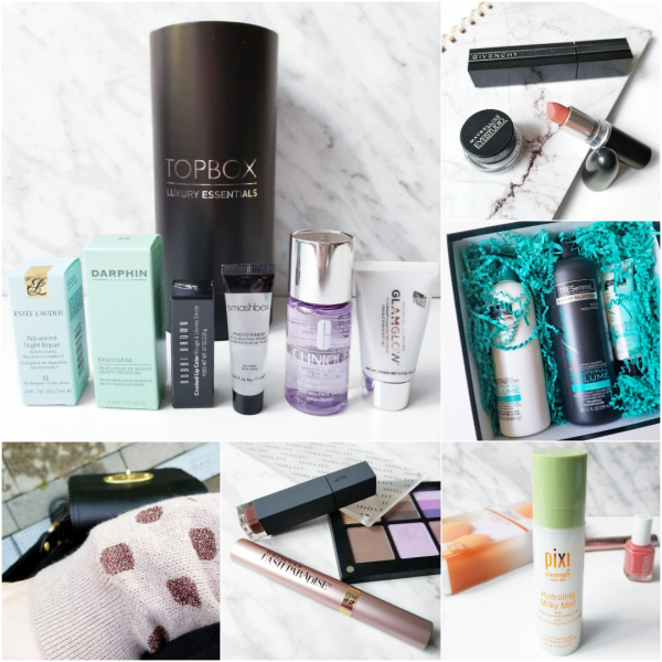 bbloggers, bbloggersca, canadian beauty bloggers, instamonth, instagram roundup, beauty blog, lifestyle blogger, topbox, luxury essentials, estee lauder, advanced night repaid, darphin, exquisage, serum, skincare, glamglow, clearing treatment, bobbi brown, ruby, crushed lipstick, clinique, take the day off, givenchy, noir interdit, mac velvet teddy, old navy sweater, bite beauty demi-glace, pixi, hydrating milky mist