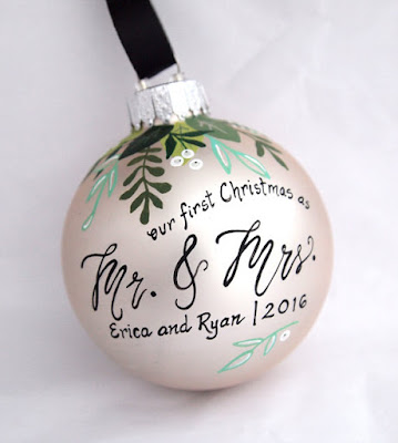 "If you're a newlywed couple, you might be thinking about starting an ornament collection. These ""Our First Christmas as Mr. and Mrs."" ornaments are a great way to begin. This one is by SarEi on Etsy."