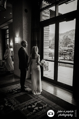 A photograph of the bride and groom in Boulder Colorado moments before their ceremony