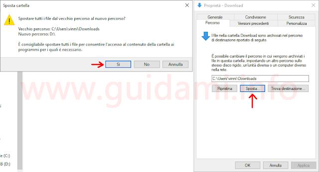 Windows 10 finestra Proprietà cartella per spostare percorso cartella