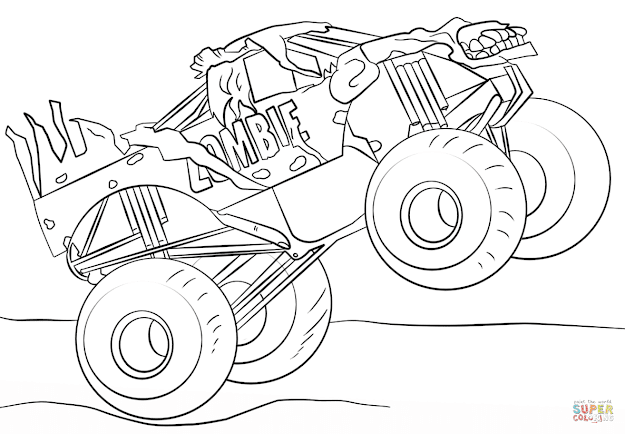 Click The Zombie Monster Truck Coloring Pages To View Printable Version Or  Color It Online Patible With Ipad And Android Tablets