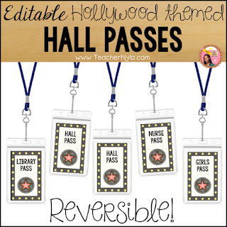 Editable Hollywood Hall Passes