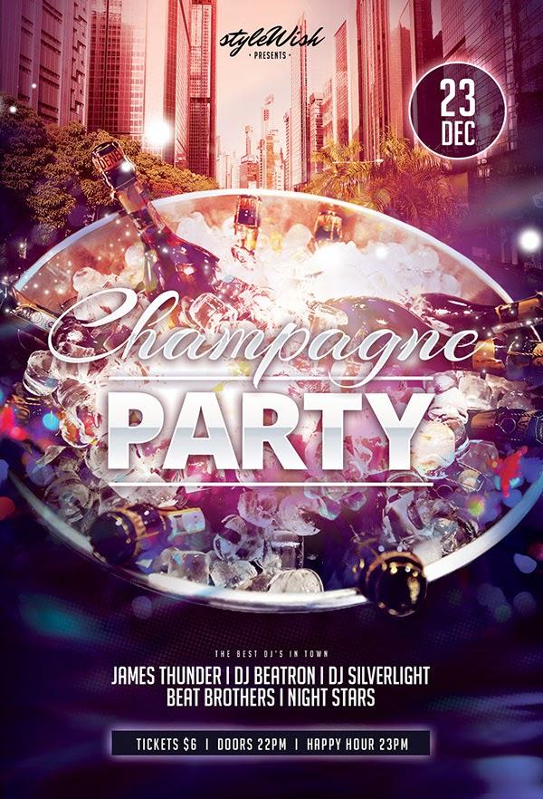 Free Champagne Party Flyer Template