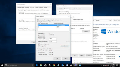 Adjust Virtual memory on Windows 10