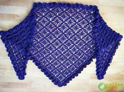Patrón #1868:Como tejer bufanda triangular a crochet