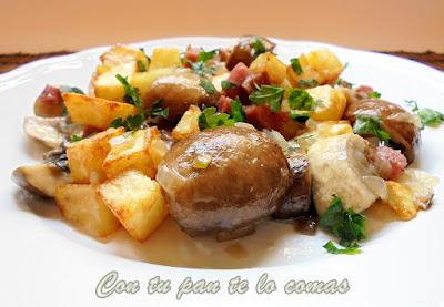 Salteado de champiñones con jamón y patatas