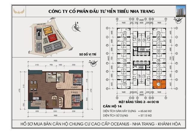 Sơ đồ căn hộ số 14 tòa OC1B Viễn Triều Nha Trang