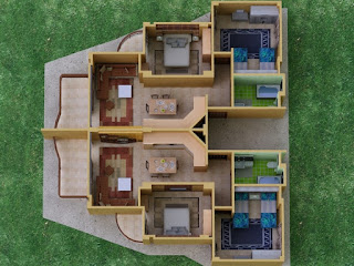 unique-shaped-3d-floor-plans-with-rooms-for-twin-kids-and-double-bathroom-suites-with-double-living-areas