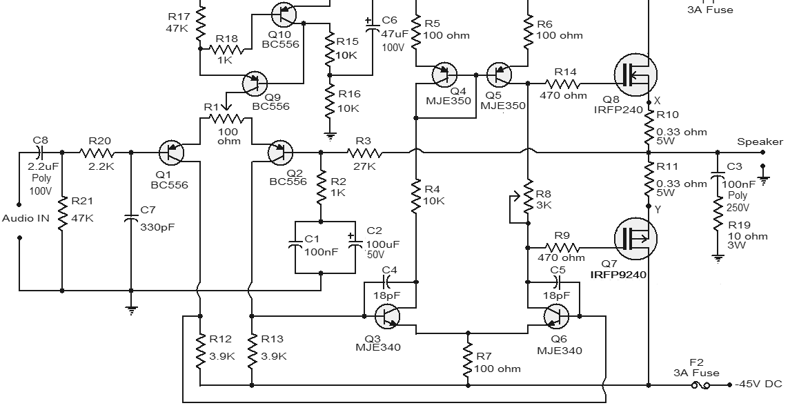100W Subwoofer Amplifier Circuit Diagram MOSFET