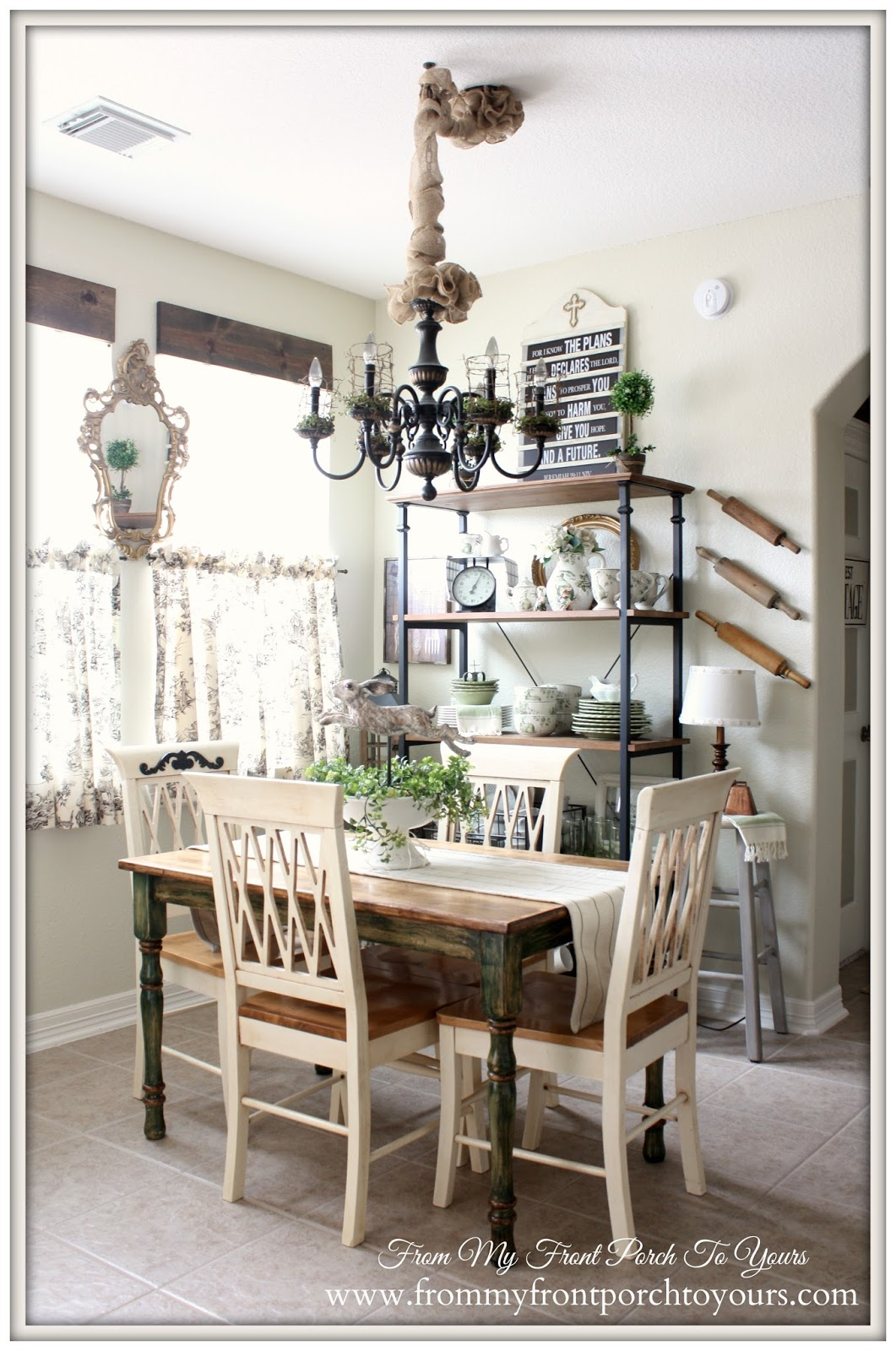 French Farmhouse Spring Breakfast Nook- From My Front Porch To Yours
