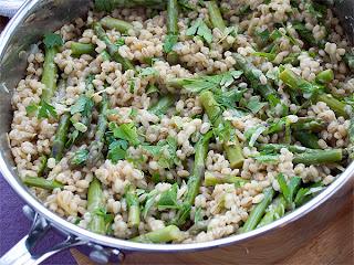 Asparagus & pearl barley risotto.