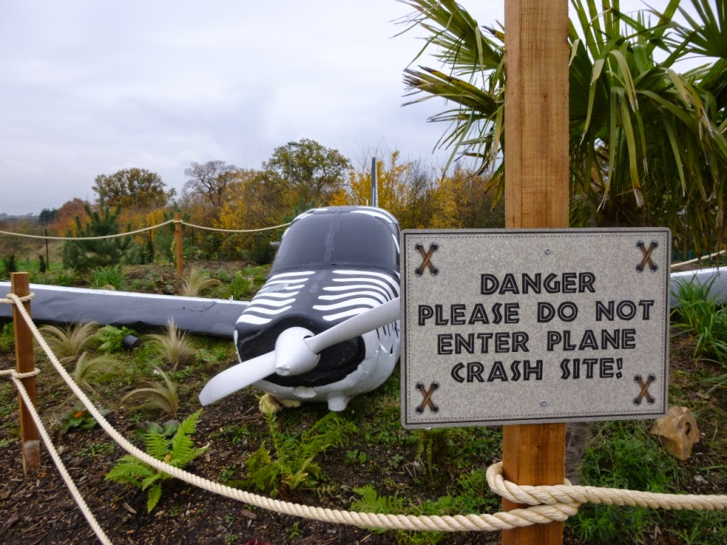 There's a crashed plane at Jungle Island Adventure Golf at Horton Park Golf Club in Epsom, Surrey