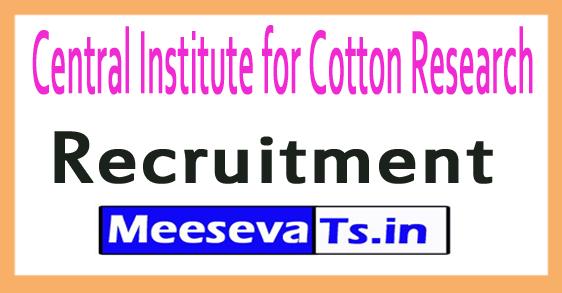 Central Institute for Cotton Research CICR Coimbatore Recruitment