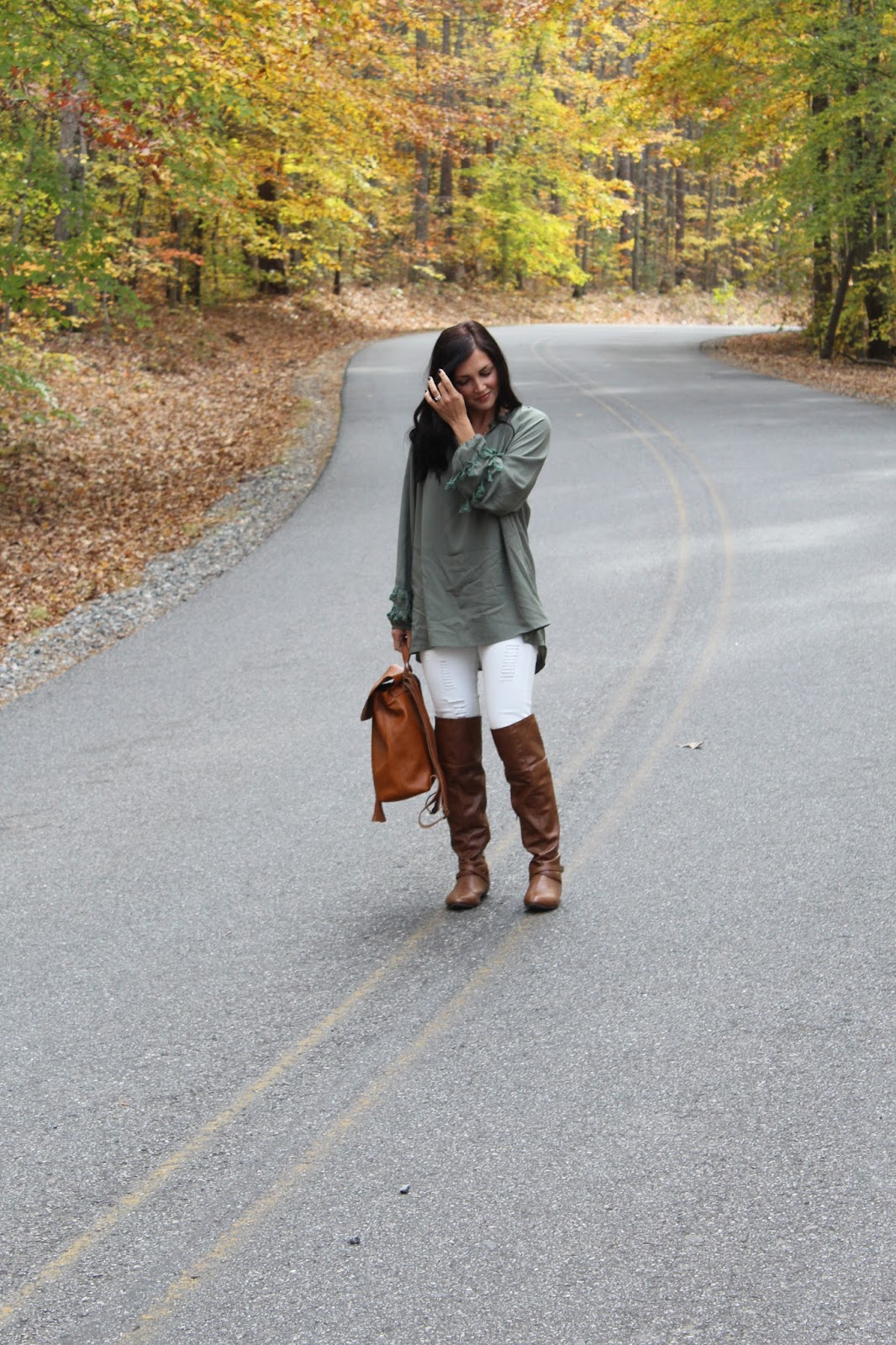 Tassel Blouse, White Jeans for Fall, Cognac Riding Boots