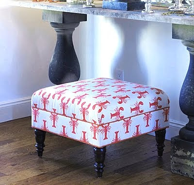 ottoman upholstered with lobster fabric
