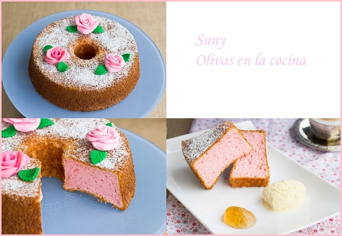 Rose Angel Food Cake - Bizcocho o Pastel de Angel con Rosa