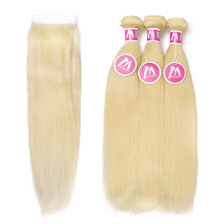 8A Premium 3 Bundles With Closure Deal Brazilian Hair Straight Hair Blonde 613