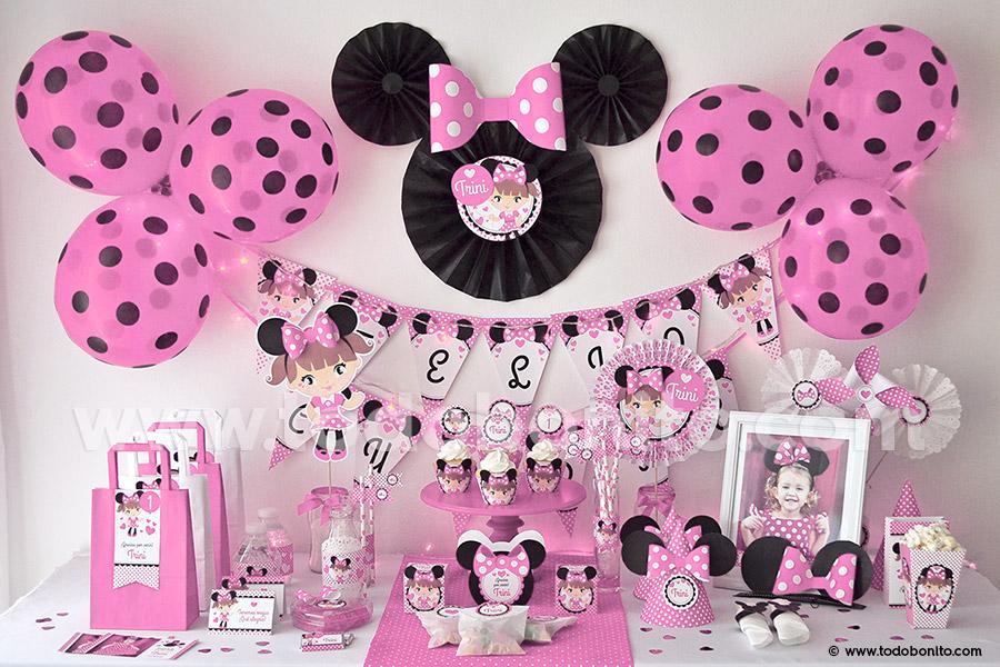 Manualidades decoracion de mesa de dulces y aguinaldos de for Decoracion de minnie mouse